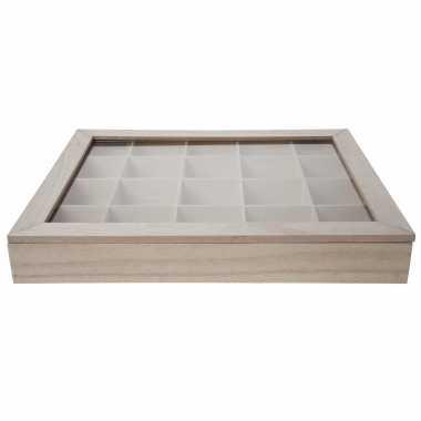 Hobby kralen/knopen sorteerdoos hout met 20 vakken 43 x 36 x 6 cm