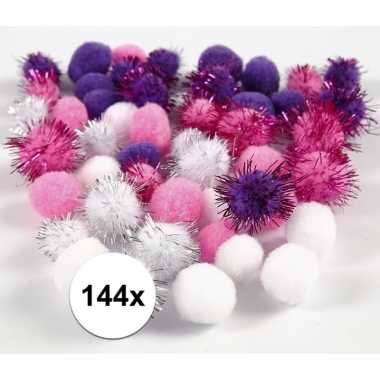 Hobby pompons 15-20 mm wit/paars