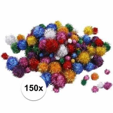 Hobby pompons 15-40 mm glitterkleuren