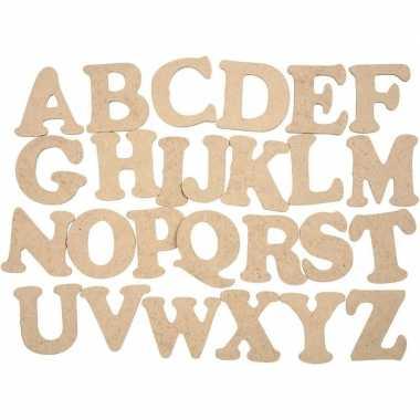 Houten alfabet letters 52 stuks 4 cm