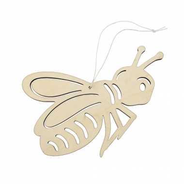 Houten dieren decoratie hanger van een honingbij van 12 x 17 cm