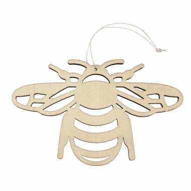 Houten dieren decoratie hanger van een honingbij van 12 x 19 cm