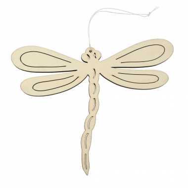 Houten dieren decoratie hanger van een libelle van 17 x 21 cm
