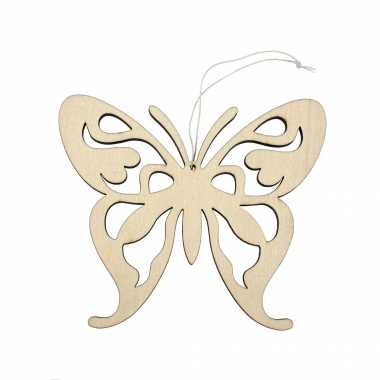 Houten dieren decoratie hanger van een vlinder van 16 x 14 cm