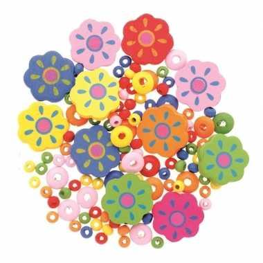 Houten kralen set bloemen kralenmix