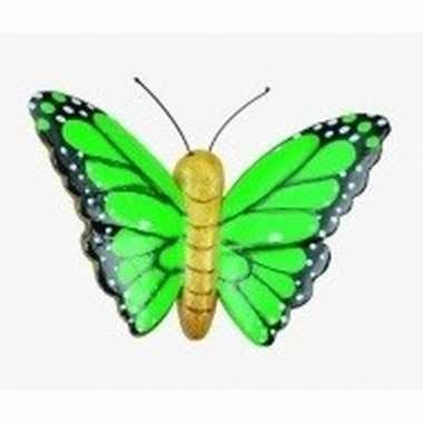 Houten magneet in de vorm van een groene vlinder