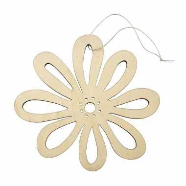 Houten vromen decoratie hanger van een bloem van 17 x 16 cm