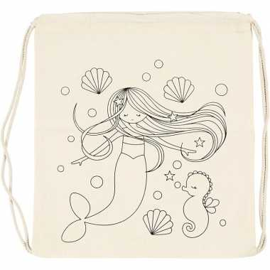 Inkleurbaar gymtasje zeemeermin 41 cm