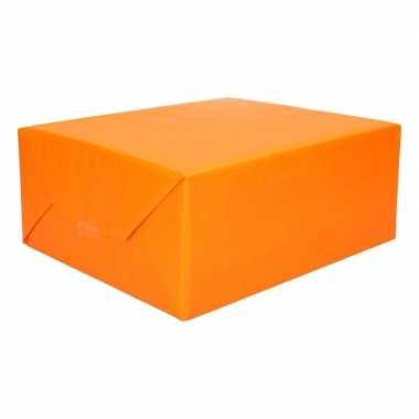 Inpakpapier/cadeaupapier dubbelzijdig geel/oranje 200 x 70 cm