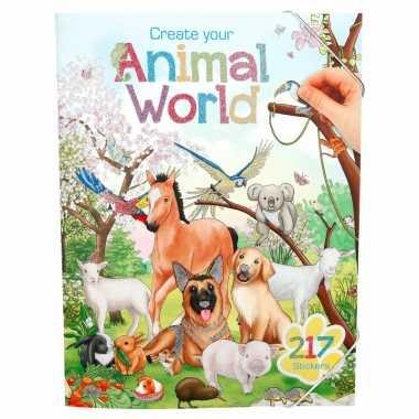 Jongens stickerboek dieren wereld thema