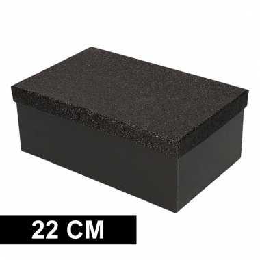 Kado doosjes zwart glitter 22 cm rechthoek