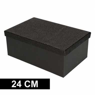 Kado doosjes zwart glitter 24 cm rechthoek