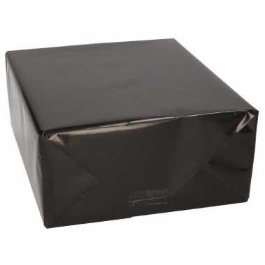 Kadopapier / kaftpapier glanzend zwart 200 x 70 cm rol