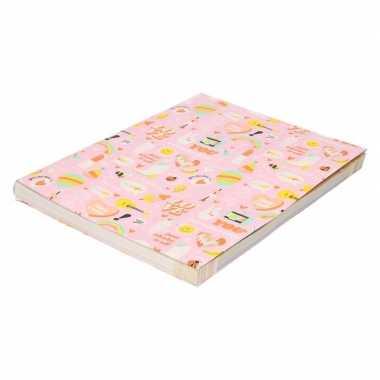 Kaft papier roze girlpower 200 x 70 cm voor meisjes