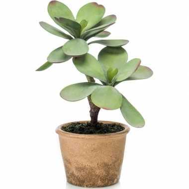 Kalanchoe vetplanten kunstplanten 34 cm in bruine plantenpot