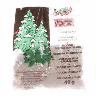 Kerstboomversiering glitter sneeuwvlokjes 40 gram