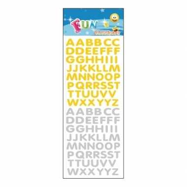Kinder stickers goud en zilver alfabet