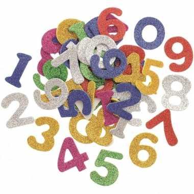 Knutsel foam 50 stuks gekleurde glitter cijfers