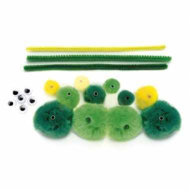 Knutselset groene rups van pompons