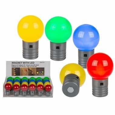 Koelkast magneten met led lamp rood 4,5 cm