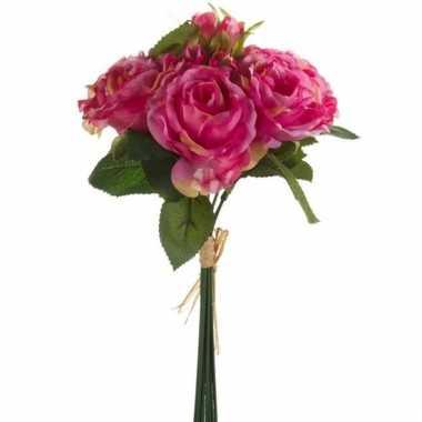 Kunst roze roosjes boeket 6 stuks