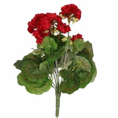 Kunstbloemen rode geranium kunstplant 35 cm