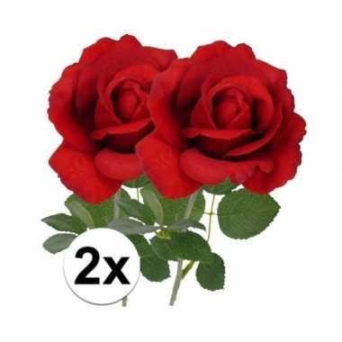 Kunstbloemen roos rood 37 cm