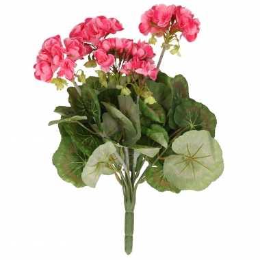 Kunstbloemen roze geranium kunstplant 35 cm