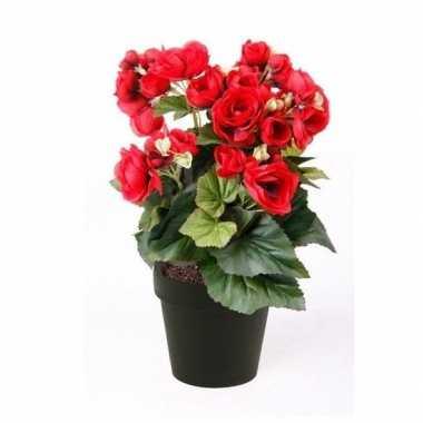 Kunstplant begonia rood 30 cm