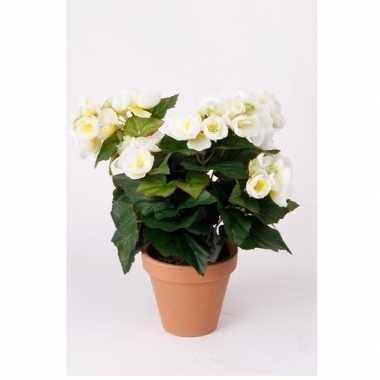 Kunstplant begonia wit 30 cm