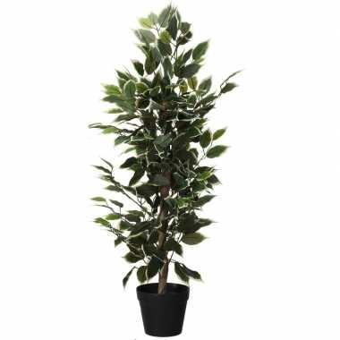 Kunstplant ficus groen met witte bladeren 95 cm