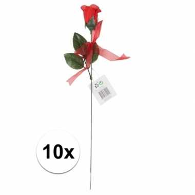 Kunstroos cadeau 10 stuks 45 cm