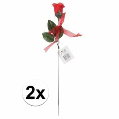 Kunstroos cadeau 2 stuks 45 cm