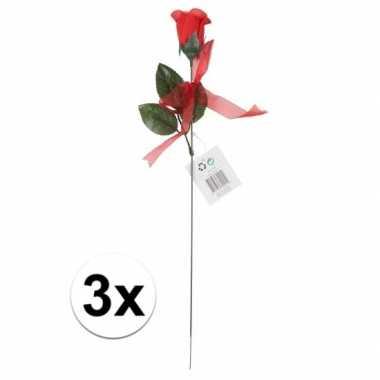 Kunstroos cadeau 3 stuks 45 cm