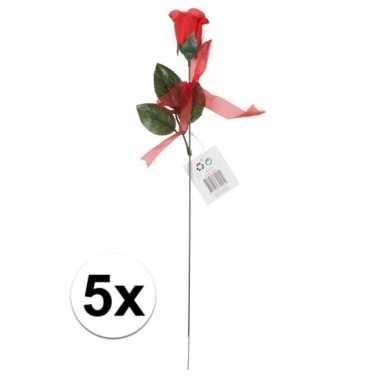Kunstroos cadeau 5 stuks 45 cm