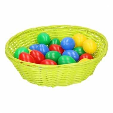 Lime mandje met gekleurde eieren 25 cm