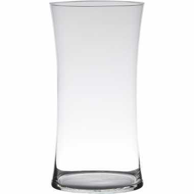 Luxe stijlvolle bloemenvaas/bloemenvazen 30 x 15 cm transparant glas