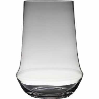 Luxe stijlvolle bloemenvaas/bloemenvazen 35 x 25 cm transparant glas