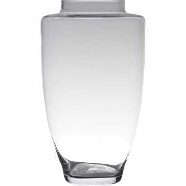 Luxe stijlvolle bloemenvaas/bloemenvazen 45 x 26 cm transparant glas