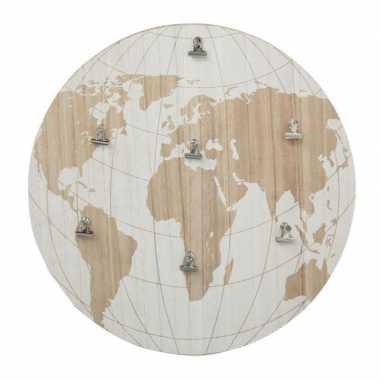 Memobord wereldkaart mdf 40 cm