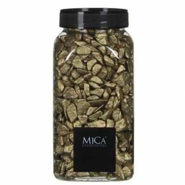 Mica decoratie stenen/kiezels goud 1 kg/kilo