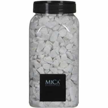 Mica decoratie stenen/kiezels wit 1 kg/kilo