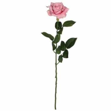 Mica roze kunstroos kunstbloemen 66 cm decoratie