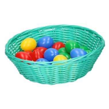 Mintgroen mandje met gekleurde eieren 25 cm
