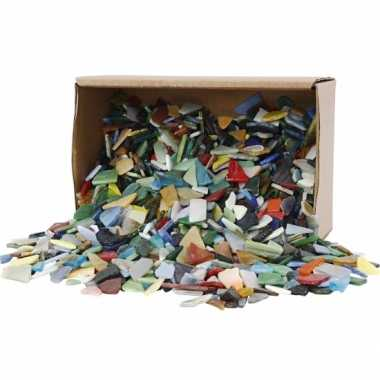 Mozaiek glas diverse kleuren 8-20 mm 2 kg
