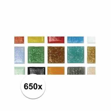 Mozaiek steentjes 650 stuks gekleurd 2 cm