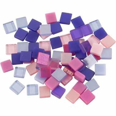 Mozaiek tegels paars roze 5x5 mm