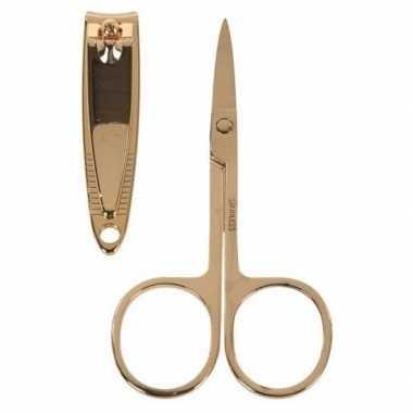 Nagelschaartje en nagelknipper set goud