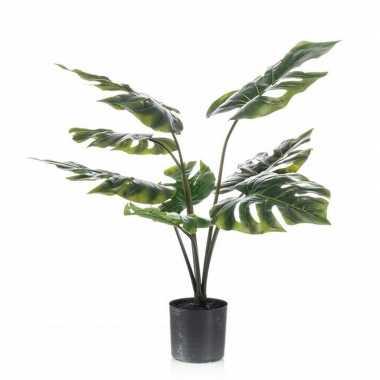 Nep kantoorplanten groene monstera/gatenplant kunstplanten 60 cm met