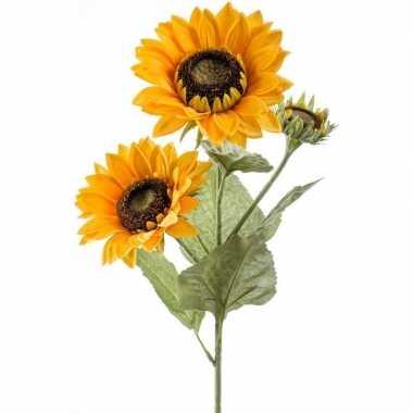 Nep/namaak zonnebloemen kunstbloemen 62 cm 3 knoppen